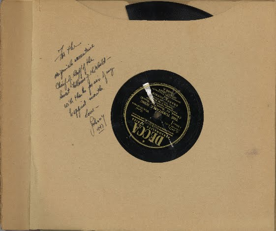 "The inside sleeve of the album for Something in the Wind, a 1947 musical comedy film with music written by Johnny Green and lyrics by Leo Robin. Johnny inscribed this special message for Leo: ""For the original executive Chief-of-Staff of the Sweet Fellows of the World -- with thanks for six of my happiest months.  Love - Johnny 1947."" On other occasions, Leo was known as the 'Vice President' of the Sweet Fellows Club, an imaginary society invented by composer Harry Warren, of which Ira Gershwin was 'President.'"