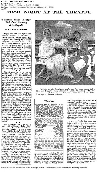 "A review of opening night, ""First Night at the Theatre,"" by Brooks Atkinson, which appeared in the New York Times on December 9, 1949."