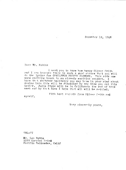Behind the Scenes: Herman Levin's letter to Leo Robin, dated December 12, 1948, expressing his delight at the prospect of Leo coming on board to write the lyrics for Gentlemen Prefer Blondes.