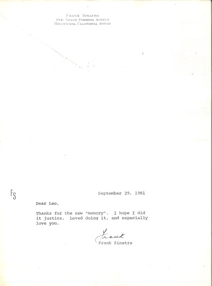 "Affectionate thank you letter from Frank Sinatra. In 1981, Leo, at Frank's request, 'updated'  ""Thanks For the Memory"" specifically for him to sing on his TV special,  Bang Bang Baby She Shot Me Down."