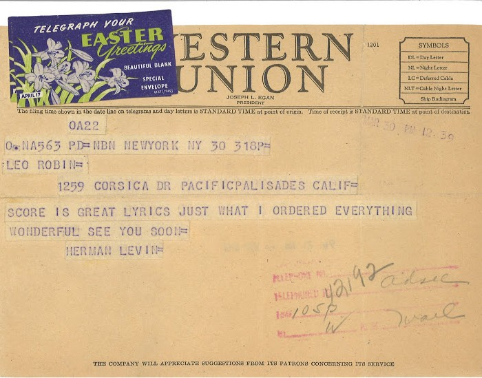 Herman Levin's telegram to Leo to tell him how perfect Leo's lyrics were for Gentlemen Prefer Blondes.