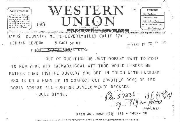 Behind the Scenes:  Jule Styne sent a telegram to Herman Levin, dated October 17, 1948, recommending either Leo Robin or Yip Harburg  (who wrote the score for The Wizard of Oz) to write the lyrics for Gentlemen Prefer Blondes.