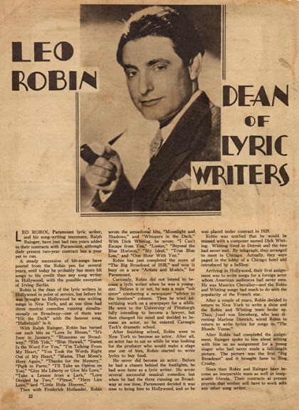 Leo Robin earned many accolades for his achievements. In this article from the 1930's, he is compared to Irving Berlin and declared