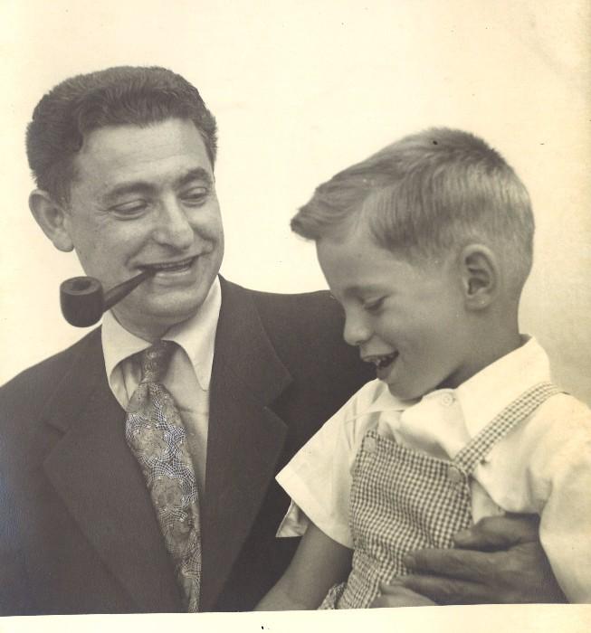 A proud and joyful Leo with his boy, Marshall