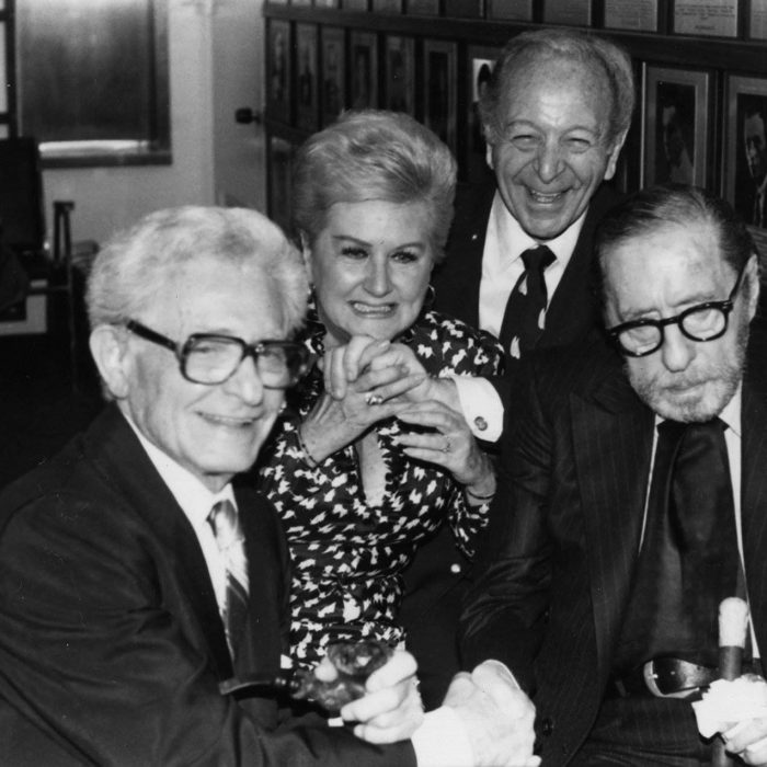 Songwriters honor Leo Robin at a special event sponsored by the Songwriters Hall of Fame. From left to right: lyricist Harry Tobias, lyricist Leo Robin, popular standards singer Margaret Whiting, composer Burton Lane and composer Harold Arlen at a 1982 reception hosted by the Songwriters Hall of Fame to honor Leo Robin
