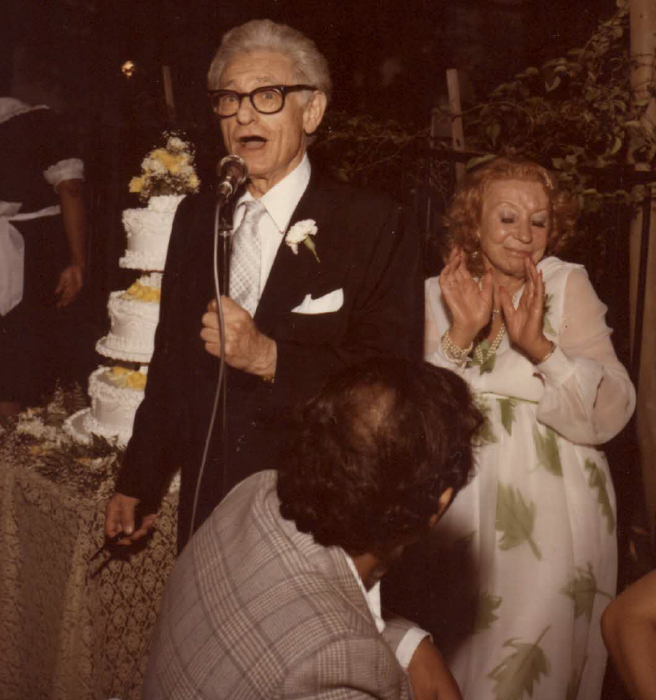 """The groom Leo sang his jazz standard, one of her favorites, """"If I Should Lose You,"""" to his bride Cherie in her daughter's garden, where they were married on August 26, 1979"""