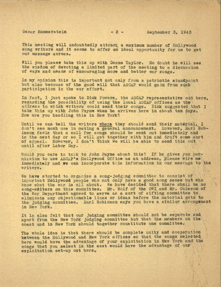Letter from Leo to Oscar Hammerstein, II, dated September 3, 1943, regarding the search for songs. In attendance at the Beverly Wilshire Hotel that Leo hosted and paid for, were Harold Arlen, Ira Gershwin, Mr. Coleson of the War Department, Sammy Cahn, Jule Styne among others including 'yours truly.'