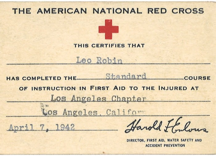 Leo was certified on April 7, 1942, the day after his 47th birthday, by the American National Red Cross. In addition to using his god-given talent as a lyricist by writing such patriotic songs as