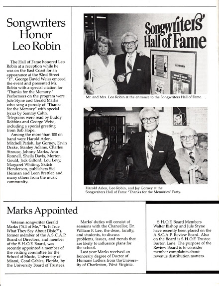 Songwriters honor Leo Robin at a special event sponsored by the Songwriters Hall Of Fame.