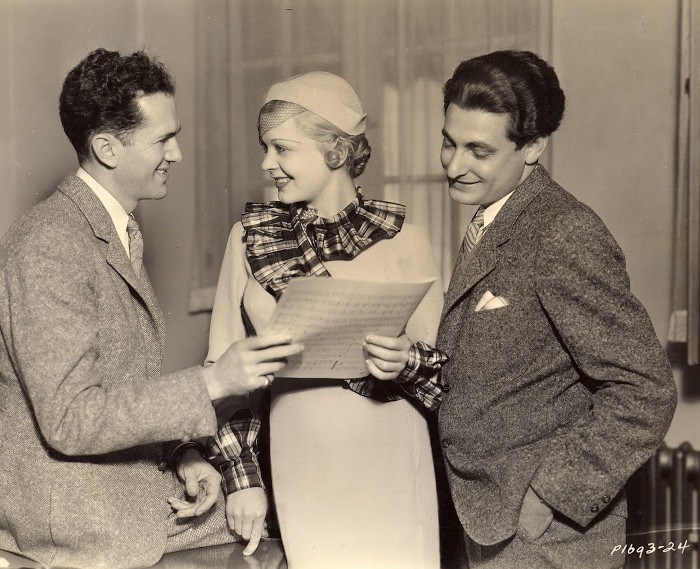 Leo Robin and Ralph Rainger present film actress Dorothy Dell with the song